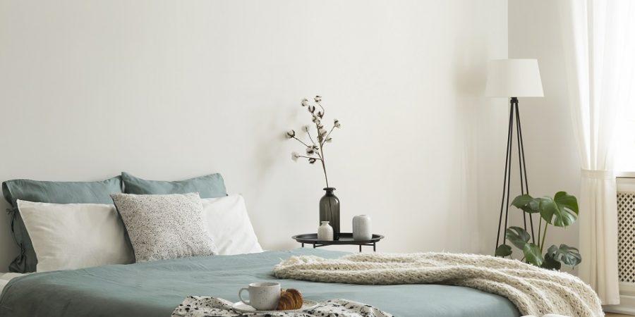 chambre à coucher avec du vert sauge